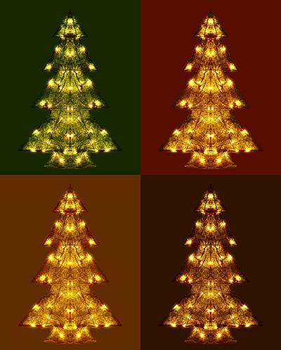 Leuchtender Weihnachtsbaum in grün, rot, gold und braun