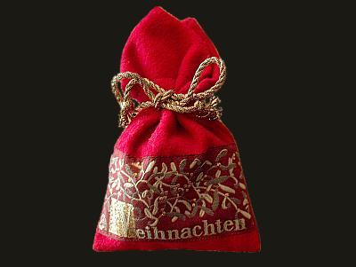 Weihnachts-Duftsäckchen mit Mistelmotiv
