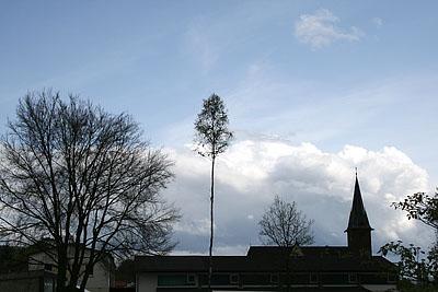 Maibaum auf dem Schulplatz in B.