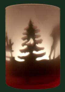Weihnachtsbaum-Waldszene-Windlicht