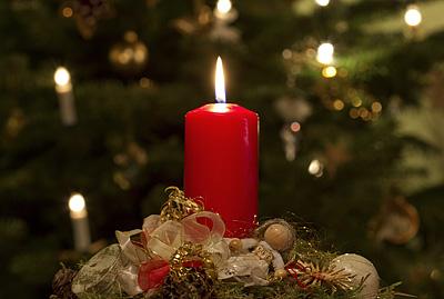 Weihnachtsgesteck vor Weihnachtsbaum am 2. Weihnachtstag 2012