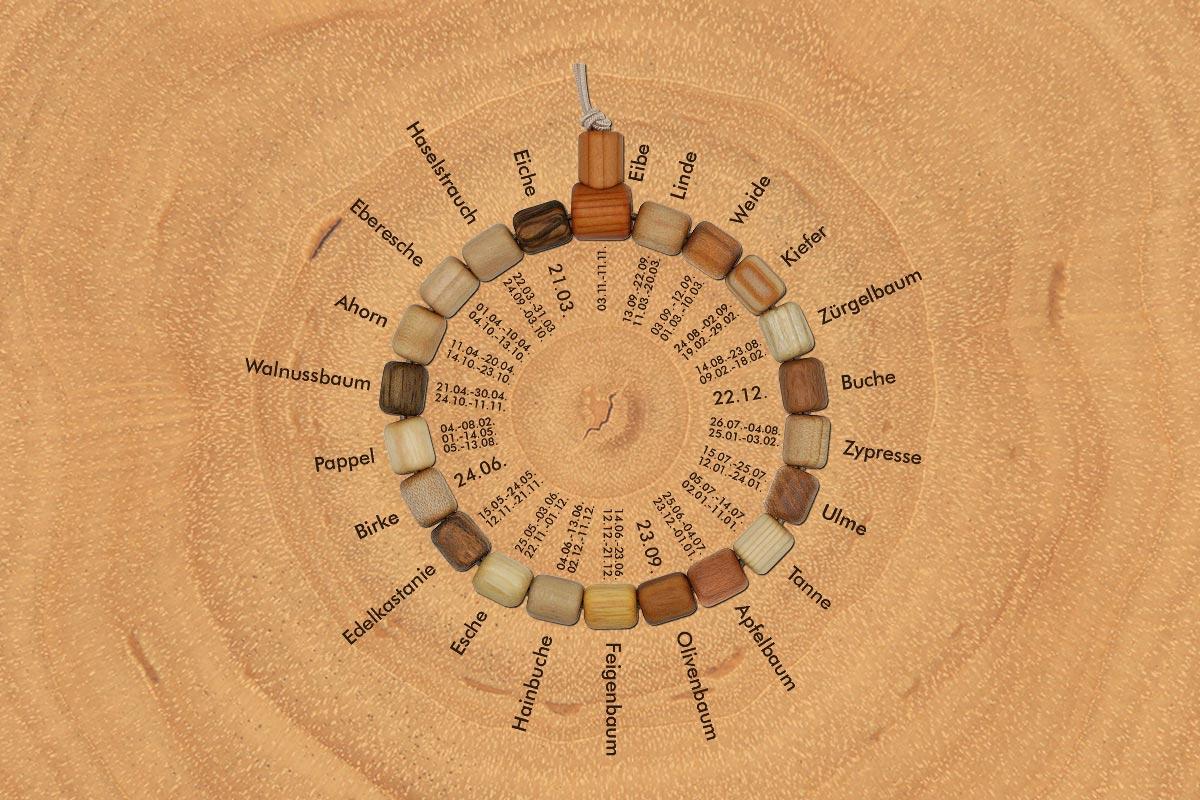 Baumkreis-Armband mit Systematik des keltischen Baumkalenders