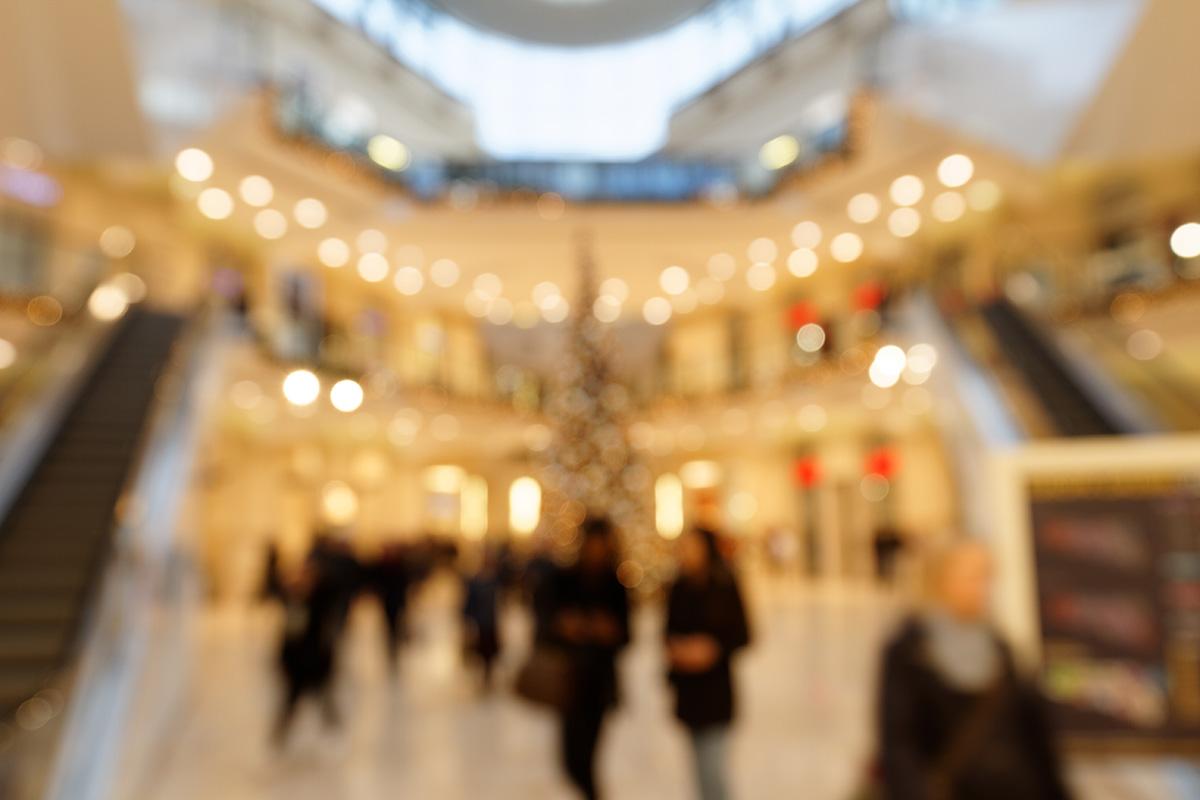 Weihnachtsbeleuchtung im Einkaufszentrum