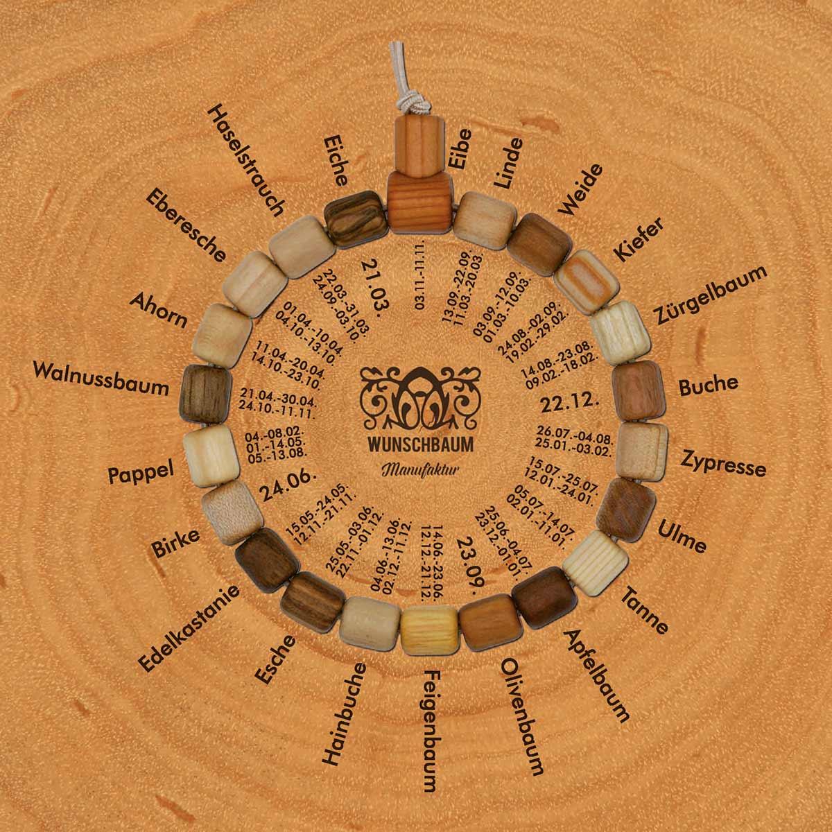 Wunschbaum-Manufaktur: Baumkreis-Armband mit Lebensbaum-/Geburtstag-Zuordnungen nach keltischem Baumkalender