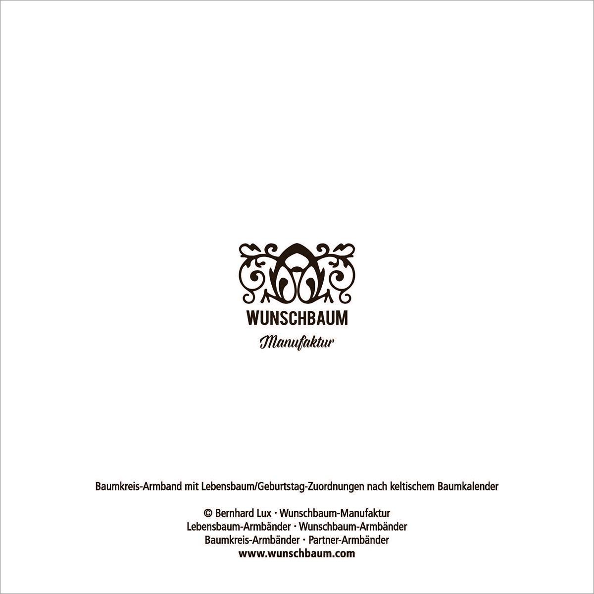 Wunschbaum-Manufaktur: Rückseite einer Info-Karte zum keltischen Baumkalender