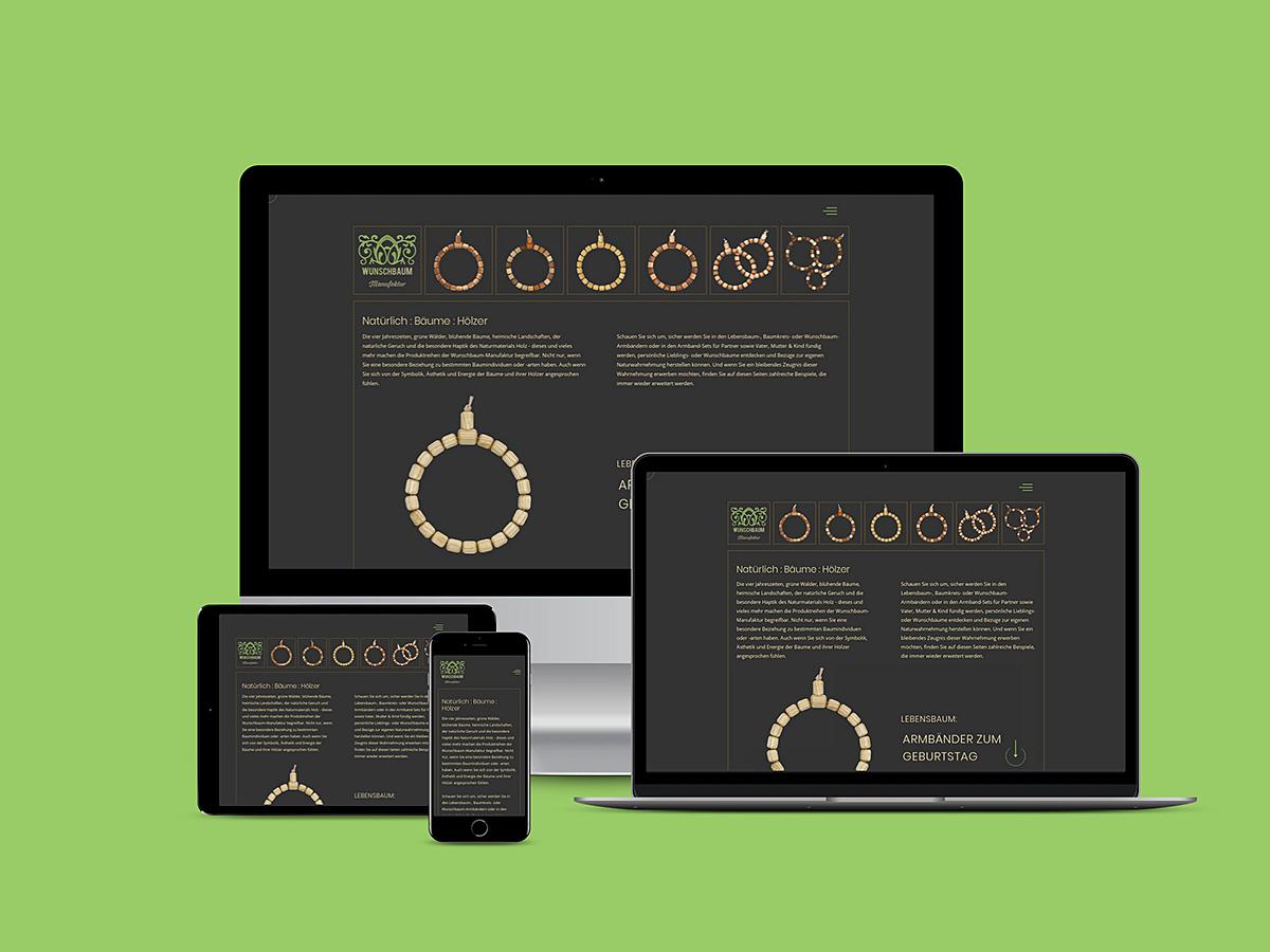 Screenshots der neuen Website der Wunschbaum-Manufaktur 2021